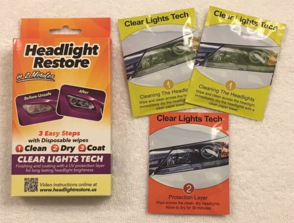 Headlight Restoration Kit From Clear Lights TechLens Cleaning Wipes RH1Dandy