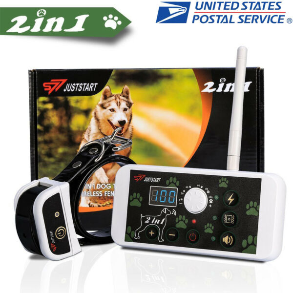 2 In 1 Outdoor Wireless Dog Training Collar Fence Pet Electric Trainer System US