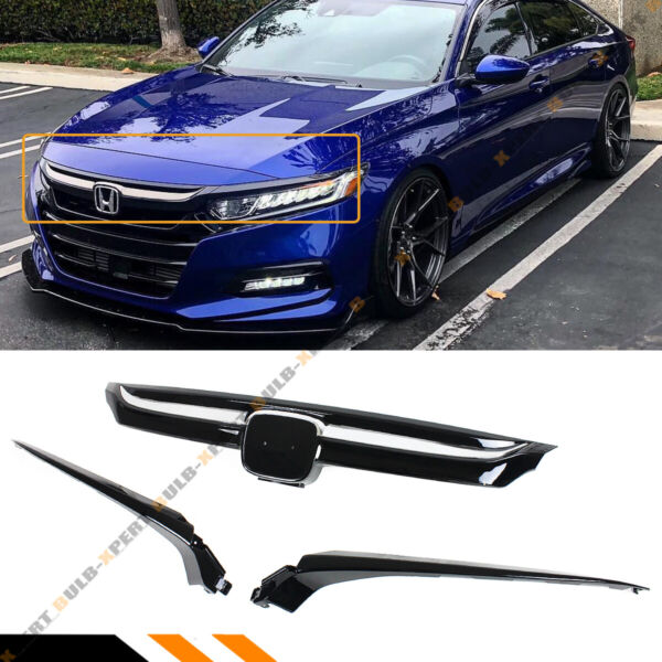 For 2018 2020 Honda Accord Glossy Blk Sport Style Front Grille W Chrome Garnish