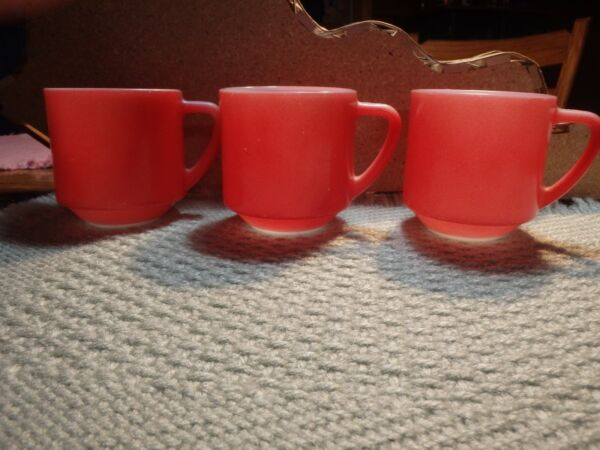 vintage three Federal Glass Stackable Red Glass Mugs