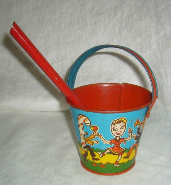 ANTIQUE TIN LITHOGRAPHED U.S. METAL TOY COMPANY CANDY PEOPLE BAND 50's SAND PAIL
