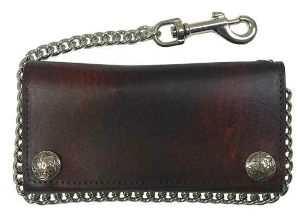 Biker Men#x27;s Buffalo Nickel Snap Antique Genuine Leather Chain Wallet Made in US