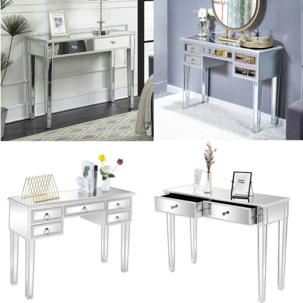 Mirrored Vanity Table Console Mirror Glam Drawers Hallway Bedroom Furniture $157.99