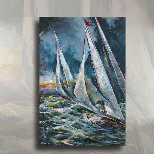 Sailboat Original Palette KnifePainting Nautical Ocean Boat Waves DECOR M.Lang