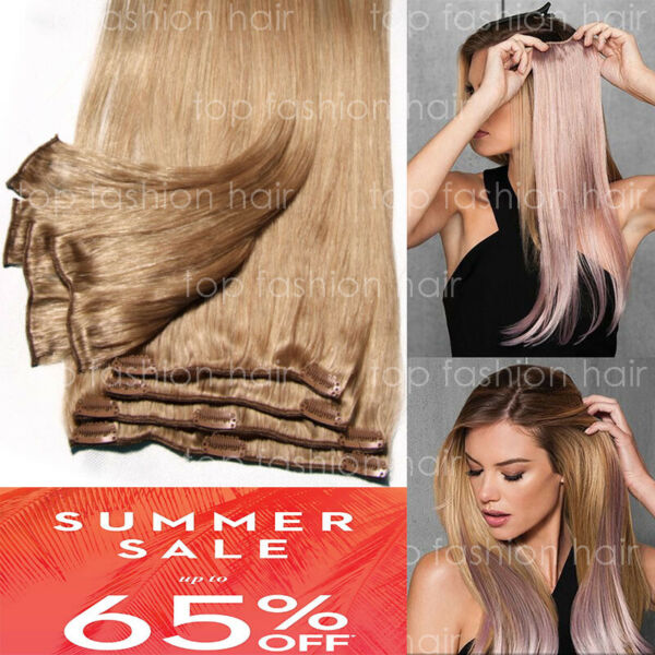 Hair Extensions Real Remy 8PCS Clip In 100% Human Weft Long Black Brown Blonde P
