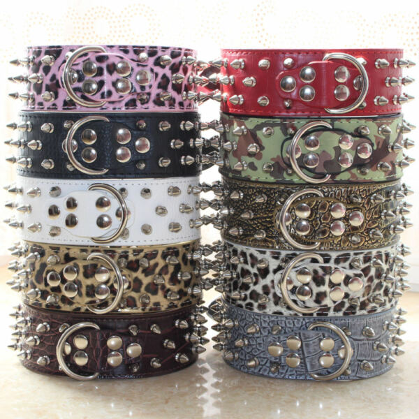 2quot; Leather Spiked Studded Large Dog Collar Spikes Studs for Pit Bull Terrier GBP 9.99