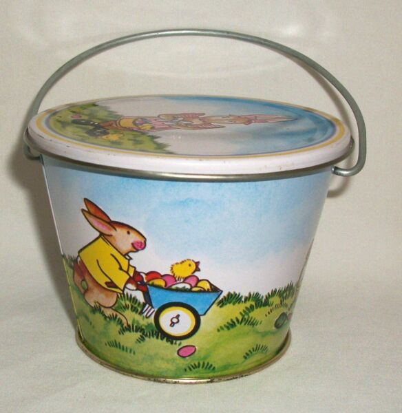 Vintage Tin Easter Pail Candy Container Lynn Gates 1982 Midwest Importers