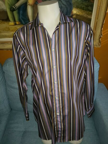 ETRO Mens Shirt Casual Purple Made in Italy Button Front Long Sleeve Size 44 XL $40.00