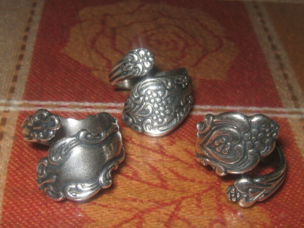 Lot Of 3 Vintage Antique Style Adjustable Silver Spoon Rings Sizes 6 10