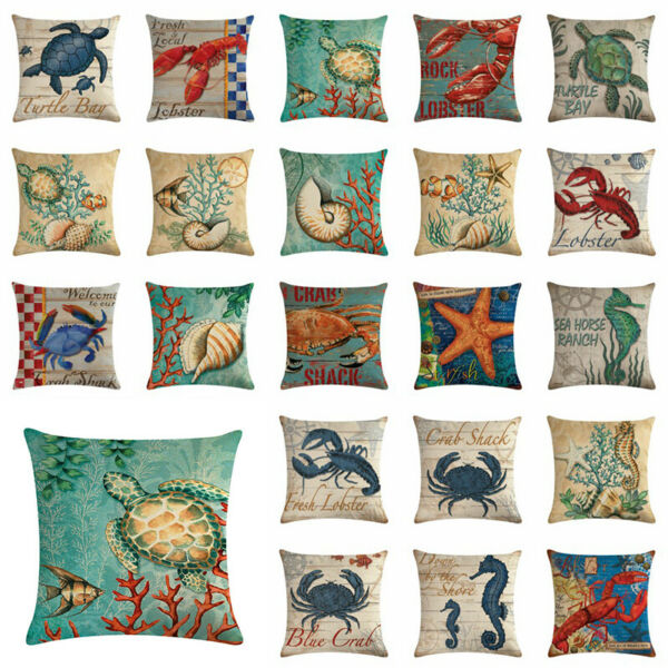 18quot; Cushion Cover Conch Coral Ocean Animal Style Linen Couch Throw Pillow Cover $3.15
