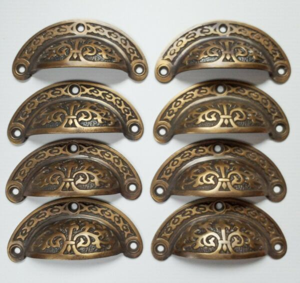 8pc Antique vtg. Style Victorian Brass Apothecary Bin Pulls Handles 3