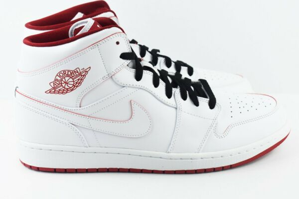 Nike Air Jordan 1 Mid Mens Size 12 Basketball Shoes White Gym Red 554724 103