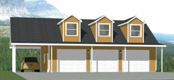 40x30 3 Car Garage with Carport 1894 sqft PDF Floor Plan Model 10A $29.99