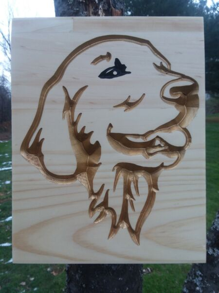 Personalized Custom Carved Wood Sign Golden Retriever pet dog customized $38.00