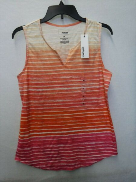 WOMENS SIZE MEDIUM SONOMA CORAL & PINK STRIPED TANK SHIRT NEW #15594