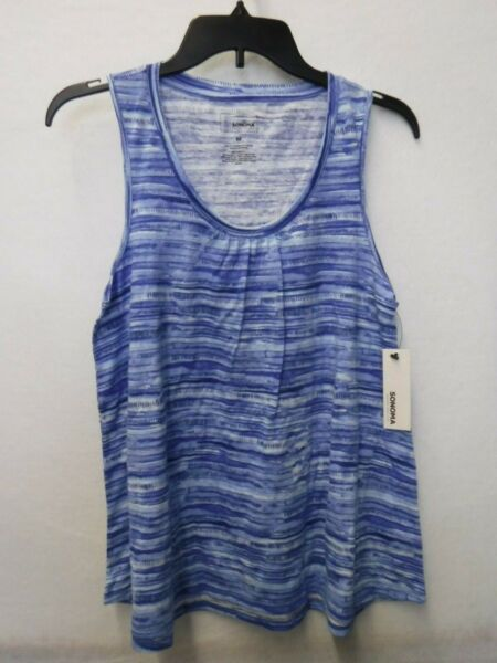WOMENS SIZE MEDIUM SONOMA BLUE STRIPED SCOOPNECK TANK SHIRT NEW #15597