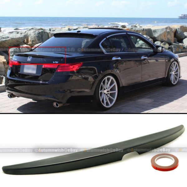 For 08 12 Honda Accord 4DR Sedan OE Style Unpainted Rear Trunk Lip Wing Spoiler