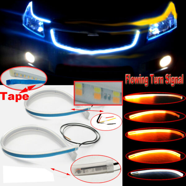 45cm LED Headlight Slim Strip Light Daytime Running Sequential Flow Turn Signals