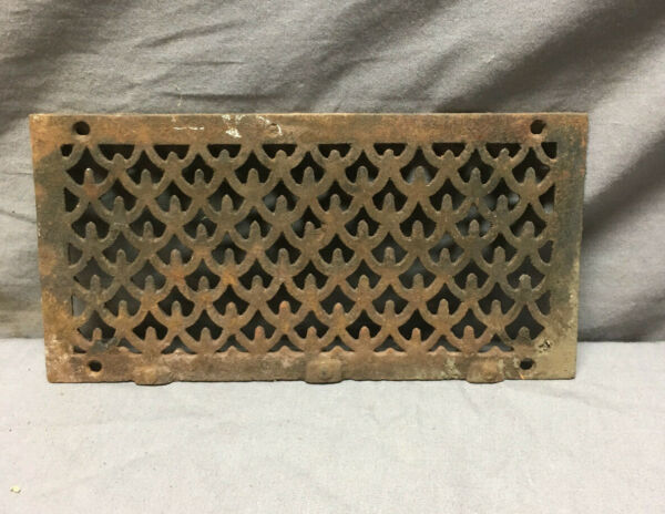 Antique Cast Iron Fireplace Grill Grate 4x9 Wall Ceiling Vent Old Vtg 434-19Lr