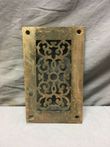 Antique Cast Iron Fireplace Grill Grate 5x9 Wall Ceiling Vent Old Vtg 436-19Lr