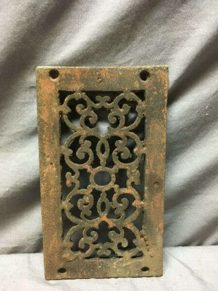 1 Antique Cast Iron Fireplace Grill Grates 5x11 Ceiling Vent Old Vtg 437-19Lr
