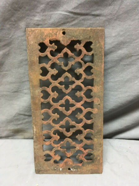 1 Antique Cast Iron Fireplace Grill Grates 9x4 Wall Ceiling Vent Old Vtg 438-19L
