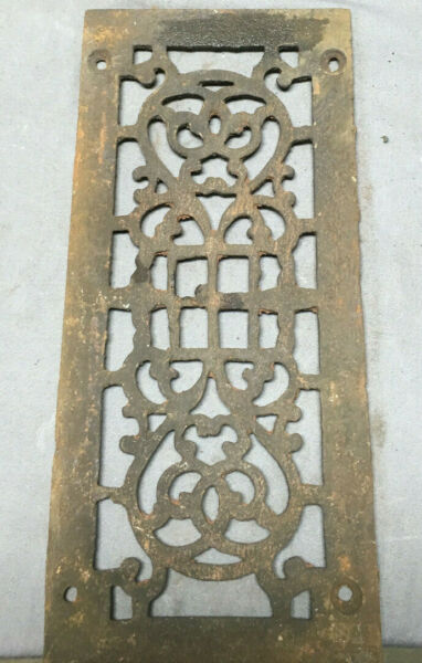 1 Antique Cast Iron Fireplace Grill Grates 5x12 Ceiling Vent Old Vtg 448-19Lr