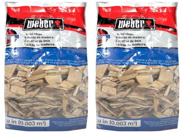 Weber Hickory Wood Chips Charcoal & Gas Grill Safe Smoky Flavor 2-packs
