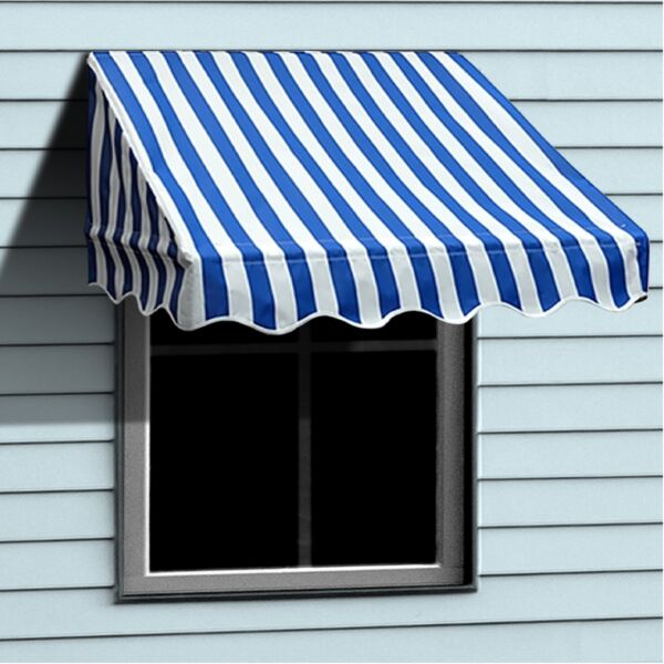 ALEKO Window Awning Door Canopy Decorator 6x2ft Shade Blue White Stripes