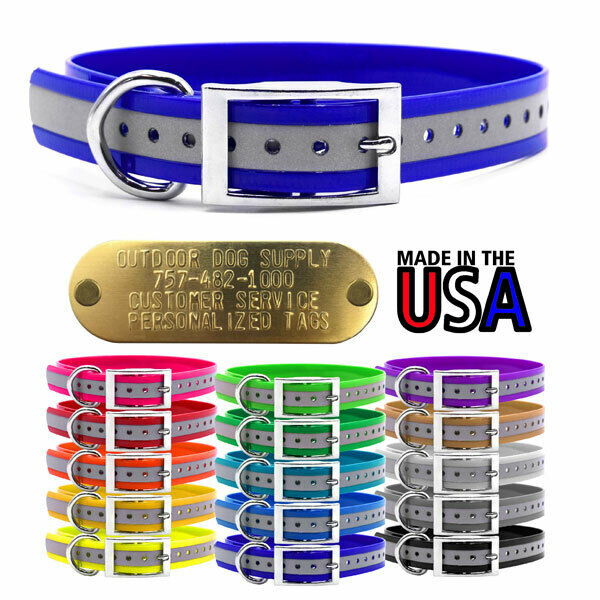 Hunting Dog Reflective Name Collar 1quot; With D Ring amp; Large 1quot; Brass Tag ID Plate $11.95