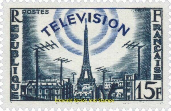 EBS France 1955 Television Eiffel Tower and TV antennas YT 1022 MNH**