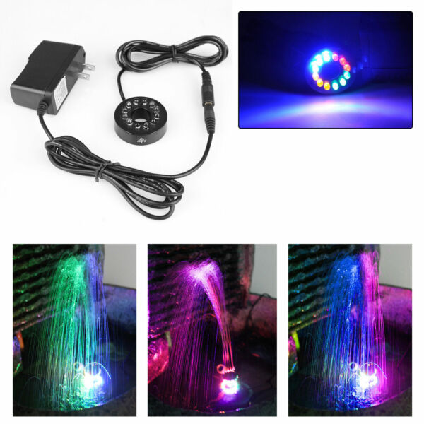12 LEDs Fountain Ring Lights Auto Colored Changing Submersible Water Pump Light