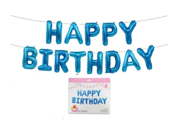 Happy Birthday Balloons Banner Balloon Bunting Party Decoration Self Inflating $6.99