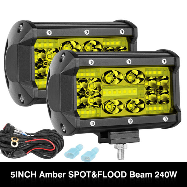 2PCS 5INCH 350W Amber Offroad LED Work Lights Pods Driving + Wiring Harness Kit