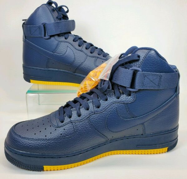 NIKE MEN AIR FORCE 1 HIGH '07 AF1 OBSIDIAN NAVY YELLOW AO2440 400 SIZE 11.5 NEW