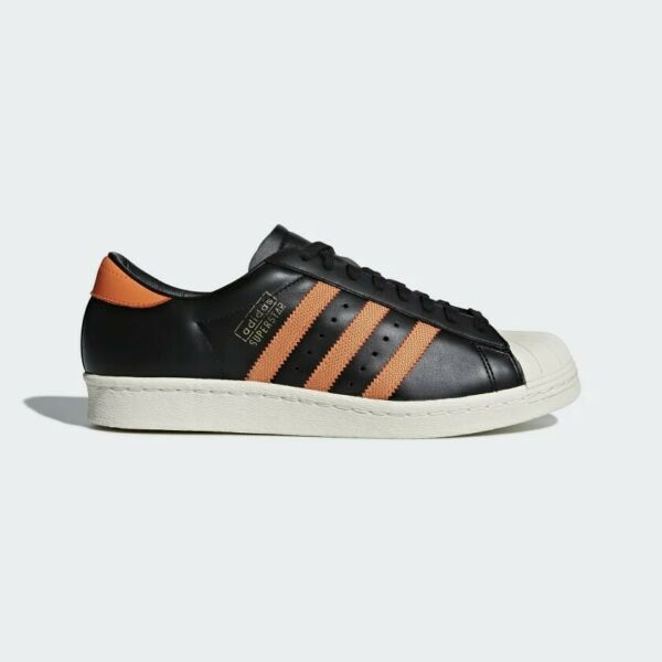 Adidas ORIGINALS SUPERSTAR 80S OG BLACK ORANGE SNEAKERS SHOES RETRO Size 9
