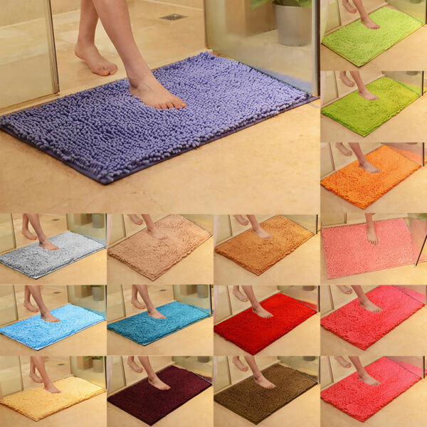 Long Microfiber Shaggy Non Slip Absorbent Bath Mat Bathroom Shower Rugs Carpet