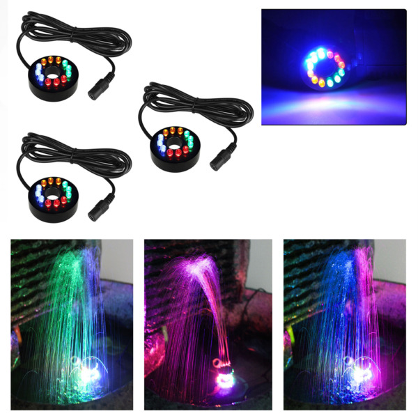 3 Pcs Fountain Ring Lights Auto Colored Changing Submersible Water Pump Lighting