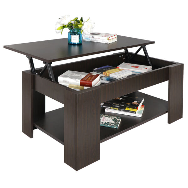 Lift up Coffee Table Hidden Storage Cabinet Compartment Longlasting Brown Finish