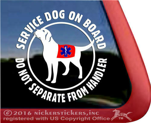 Service Dog On Board Do Not Separate High Quality Vinyl Labrador Window Decal $8.99