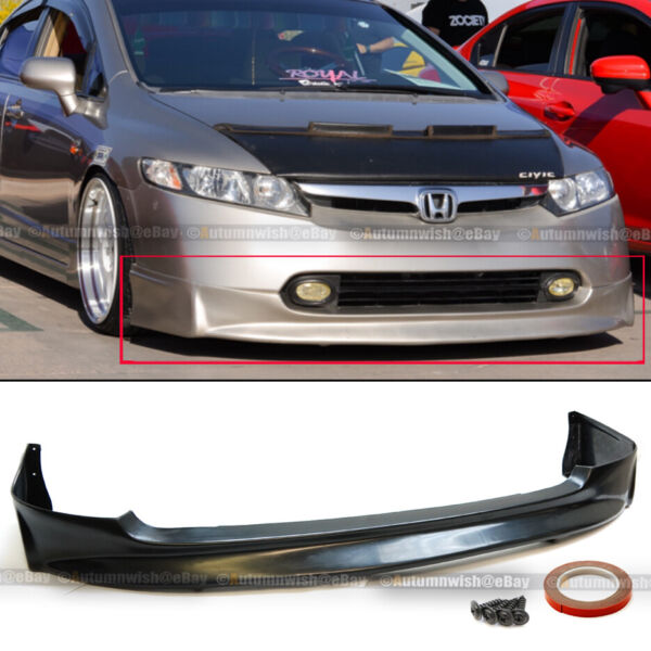 Fit 06-08 Civic 4 Dr Sedan Mugen Style PU Front Bumper Lip Spoiler Body Kit