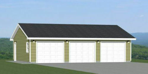 36x28 3 Car Garage 1008 sq ft PDF Floor Plan Model 3C $29.99