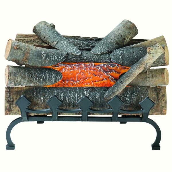 Electric Fireplace Crackling Log Burning Fake  Wood Glowing Decor with Grate New