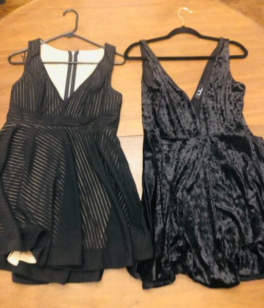 Lot of 2 junior black mini dresses flare boutique cute Large. Lulus and Luxxel.