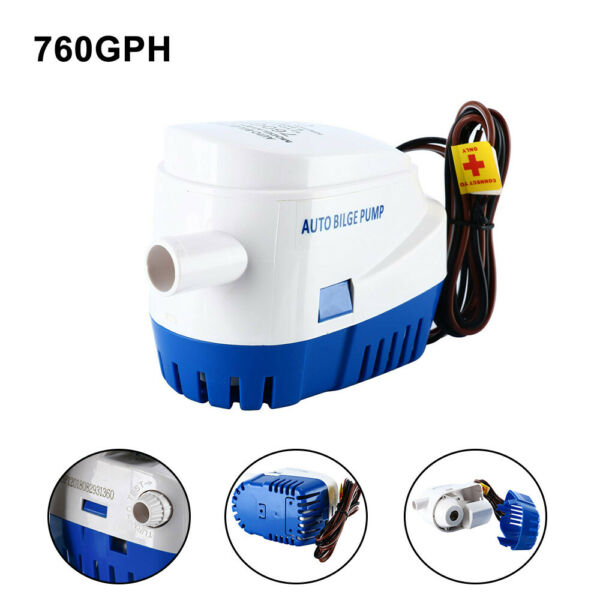 Boat Automatic Submersible Bilge Pump 12V 760GPH Auto with Built-in Float Switch