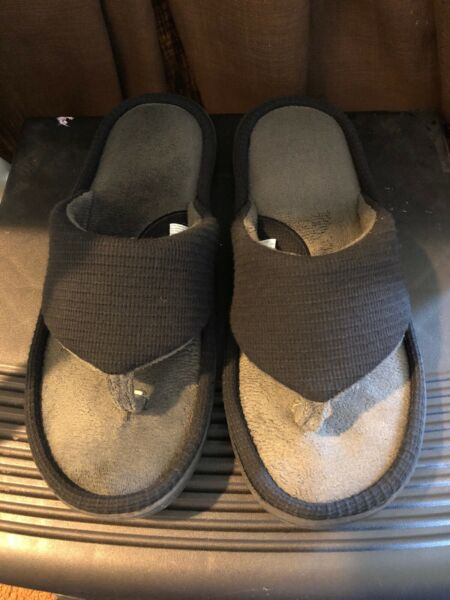 Wishcotton Men's Memory Foam Summer Flip Flop Slippers GrayblackSize 13