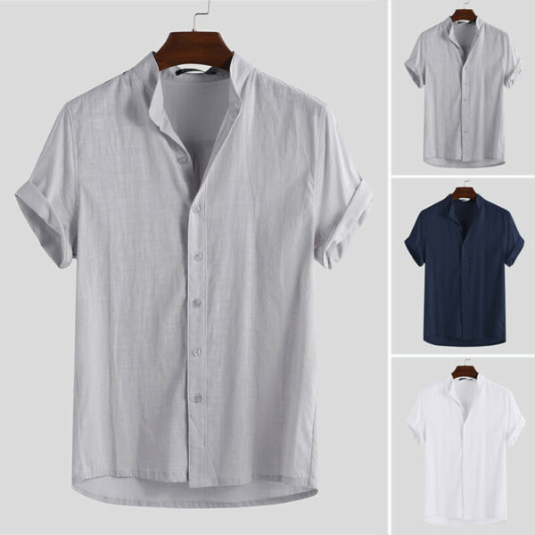 Men#x27;s Linen Short Sleeve Shirt Summer Beach Loose Casual Collarless Tops Holiday