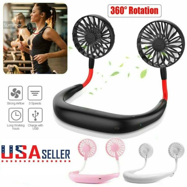 Rechargeable Dual Cooling Portable USB Neck Hanging Fan 360° Neckband Mini Fan