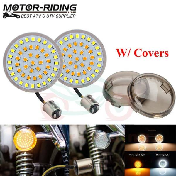 1157 LED Turn Signals Light Inserts Smoke Lens Fit for Harley Street Road Glide