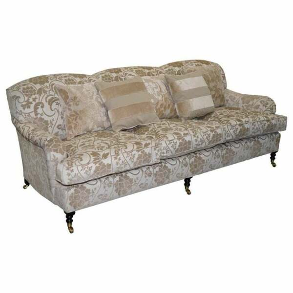 RRP £12000 GEORGE SMITH SCROLL ARM THREE SEATER SOFA PAISLEY UPHOLSTERY FABRIC